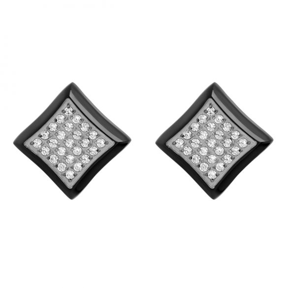 Stainless Steel White Cubic Zirconia Black Square Stud Earrings