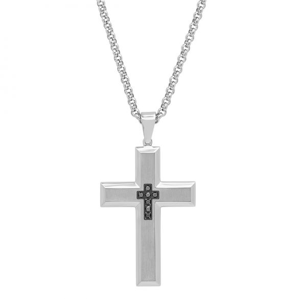 Stainless Steel 15ctw Black Diamond Cross Pendant With Rolo Chain Necklace 24
