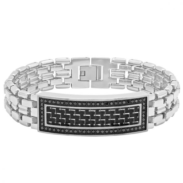 Stainless Steel 3 4 Cctw Black Diamond Carbon Fiber Inlay High Polished Link Id Bracelet
